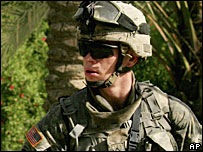 US soldier on patrol in Iraq