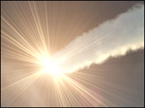 Artist's impression of a comet strike, BBC