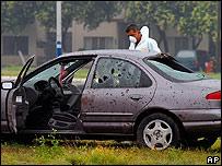 Auto de un comandante de la policía asesinado el 19 de mayo.