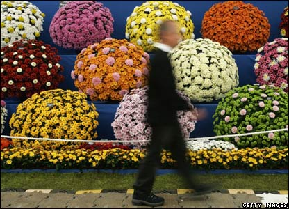 A man walks past a flower display at Chelsea Flower Show during the preview day