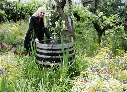 Designer Kate Frey, from Hopland, Mendocino County, California, USA, poses in her show garden 'The Fetzer Sustainable Winery Garden