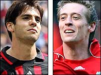 AC Milan's Kaka (left) and Liverpool's Peter Crouch