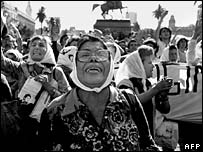 Mothers of the Plaza de Mayo during a protest in 1982
