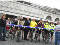 The cyclists from North Wales Police at Cardiff Railway Station (picture: Arriva Trains Wales)