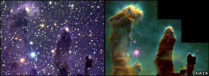 Two views of the Eagle nebula  Image: Nasa