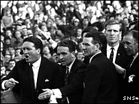 Celtic manager Jock Stein and his players back at Celtic Park