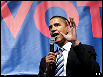 Barack Obama speaks at a rally