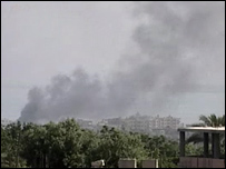 Plume of smoke rising from Nahr al-Bared refugee camp 22-05-07