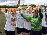 Geordie Girls celebrate winning the women's final