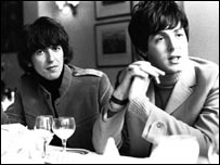 George Harrison and Paul McCartney