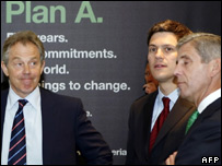 Tony Blair, David Miliband and Stuart Rose