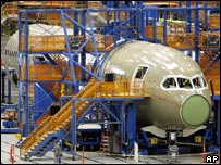 The first Boeing 787 Dreamliner being assembled
