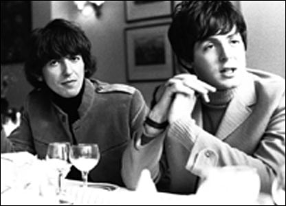 George Harrison and Paul McCartney at the Antrobus Arms Hotel, Amesbury