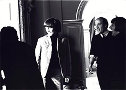 George Harrison, film director Richard Lester (centre) and Ringo Starr.