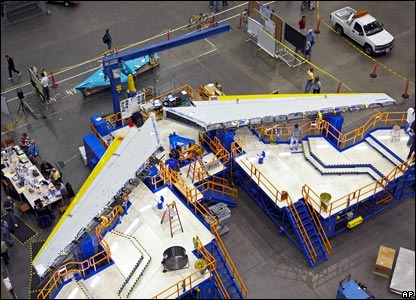 The wings of the 787 being readied before being joined to the fuselage