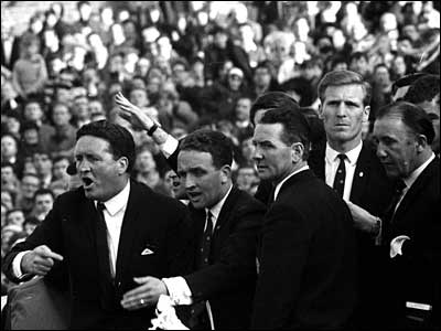Celtic manager Jock Stein and the players parade the European Cup at Celtic Park