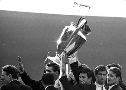 Celtic players with the European Cup