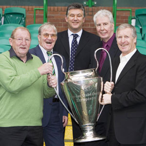 From left: Tommy Gemmell, Bertie Auld, Celtic chief executive Peter Lawwell, Jim Craig and former Celtic captain Billy McNeill