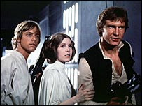Luke Skywalker, Princess Leia and Han Solo in Star Wars