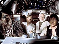 Chewbacca, Luke Skywalker, Obi-Wan Kenobi and Han Solo in Star Trek