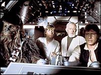 Chewbacca, Luke Skywalker, Obi-Wan Kenobi and Han Solo in Star Trek