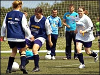 The women's game in action at Newcastle