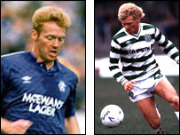 Mo Johnston in Rangers and Celtic colours