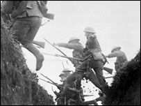 British troops leap over a trench - pic courtesy National Army Museum