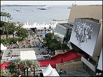 Aerial shot of the Festival Palace in Cannes