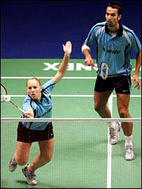 Gail Emms and Nathan Robertson in action at the 2007 Yonex All-England Championships