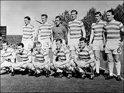 The victorious Celtic side pose before the match in Lisbon