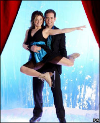 Melanie Lambert and Kyran Bracken in ITV's Dancing on Ice