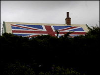 A house painted with a Union Jack, Stanley