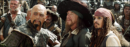 Chinese Pirate Sao Feng, Captain Barbossa and Captain Jack Sparrow,