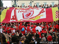 Liverpool supporters in Athens
