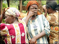 Mourning women after seeing a body