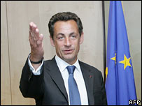 French President Nicolas Sarkozy during a visit to Brussels