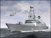 Artist's impression of the T45 destroyer class