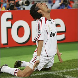 Pippo Inzaghi celebrates his second goal