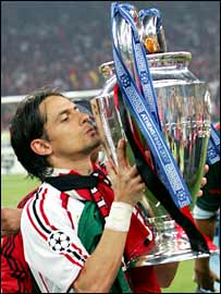 Pippo Inzaghi with the European Cup after Milan's 2-1 win over Liverpool