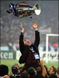 AC Milan coach Carlo Ancelotti celebrates victory