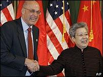 US Treasury Secretary Henry Paulson Chinese Vice Premier Wu Yi