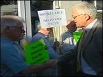 Mike German met protesters at the Lib Dem meeting