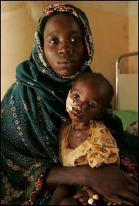 Mother and baby in Darfur refugee camp