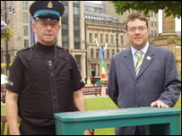 Warden Charlie Maclean and council leader Steven Purcell