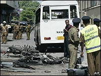 Site of the bomb attack in Colombo