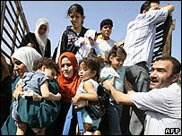 Palestinian refugees fleeing the violence