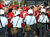Liverpool fans outside the Olympic Stadium