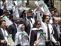 Pakistani lawyers protesting over the suspension of the country's chief justice