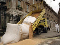 GM soya beans dumped outside Downing Street, picture by Greenpeace